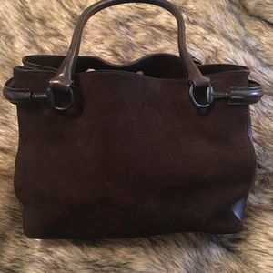Leather and suede Gucci shoulder purse